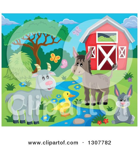 Clipart of a Red Barn with Spring Butterflies, a Goat, Duck, Donkey and Rabbit by a Stream - Royalty Free Vector Illustration by visekart