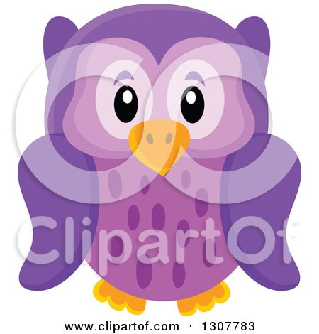 Clipart of a Cute Purple Owl - Royalty Free Vector Illustration by visekart