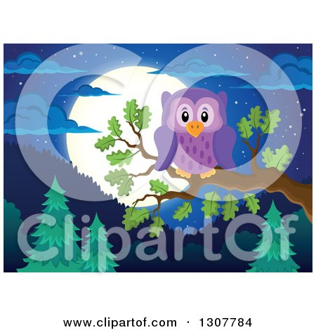 Clipart of a Purple Owl Perched on a Branch over a Forest, Hills and Full Moon at Night - Royalty Free Vector Illustration by visekart
