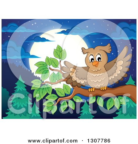 Clipart of a Landing Owl on a Branch over a Forest, Hills and Full Moon at Night - Royalty Free Vector Illustration by visekart