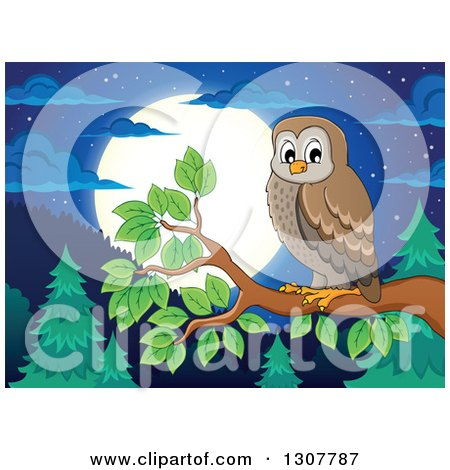 Clipart of a Brown Owl Perched on a Branch over a Forest, Hills and Full Moon at Night - Royalty Free Vector Illustration by visekart