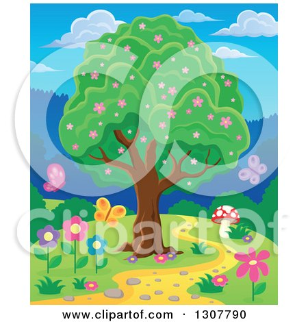 Clipart of a Lush Tree with Pink Spring Blossoms by a Path with a Mushroom, Butterflies and Flowers - Royalty Free Vector Illustration by visekart