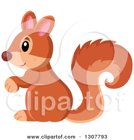 Clipart of a Cute Forest Squirrel Facing Left - Royalty Free Vector Illustration by visekart