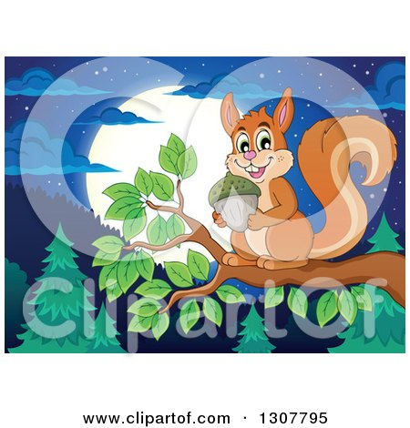 Clipart of a Cute Forest Squirrel Holding an Acorn on a Tree Branch over a Forest at Night - Royalty Free Vector Illustration by visekart