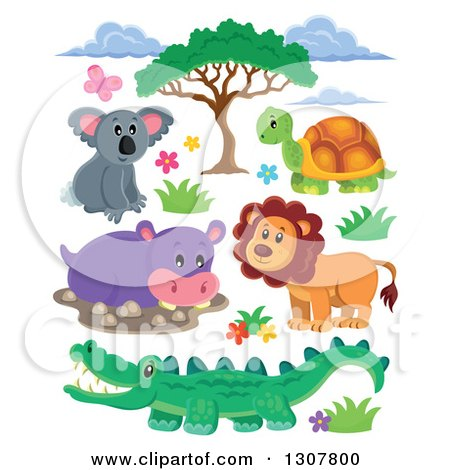 Clipart of a Cute Wild African Koala, Tortoise, Lion, Hippo and Crocodile with Foliage - Royalty Free Vector Illustration by visekart