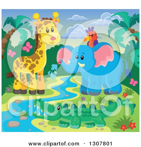 Clipart of a Wild African Parrot, Elephant, Giraffe and Crocodile at a Stream Against a Sunset - Royalty Free Vector Illustration by visekart