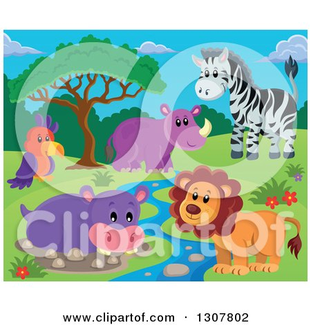 Clipart of a Wild African Male Lion, Hippo, Rhino, Zebra and Parrot by a Stream During the Day - Royalty Free Vector Illustration by visekart