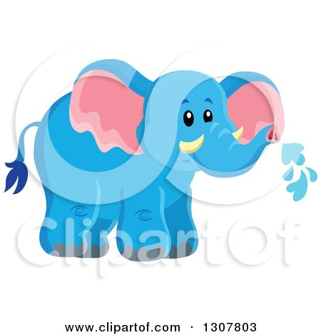 Clipart of a Cute Wild African Blue Elephant Spraying Water - Royalty Free Vector Illustration by visekart