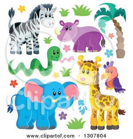 Clipart of a Cute Wild African Zebra, Hippo, Snake, Parrot, Giraffe and Elephant with Plants - Royalty Free Vector Illustration by visekart