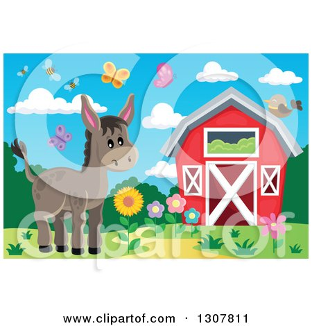 Clipart of a Red Barn with Spring Bees, Butterflies and a Donkey - Royalty Free Vector Illustration by visekart