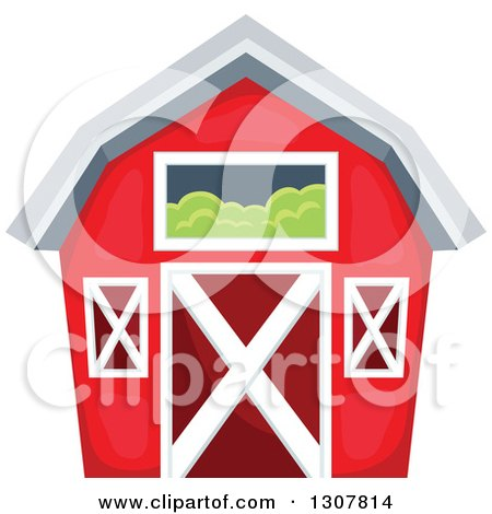 Clipart of a Red Barn with a Hay Loft - Royalty Free Vector Illustration by visekart