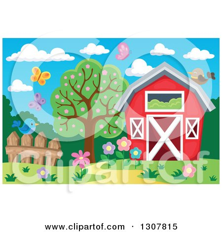 Clipart of a Red Barn with a Hay Loft, Butterflies and Spring Flowers - Royalty Free Vector Illustration by visekart