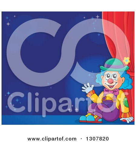 Clipart of a Clown Sitting and Waving Against a Blue Background on a Stage - Royalty Free Vector Illustration by visekart