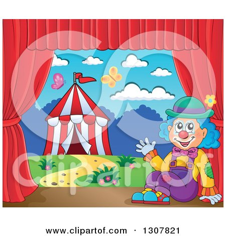 Clipart of a Clown Sitting and Waving Against a Big Top Circus Tent on a Stage - Royalty Free Vector Illustration by visekart