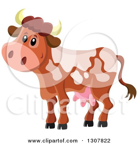 Clipart of a Cute Spotted Dairy Cow - Royalty Free Vector Illustration by visekart