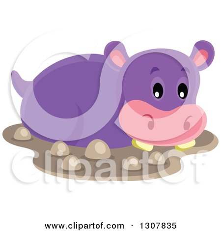 Clipart of a Cute Purple African Hippopotamus in Mud - Royalty Free Vector Illustration by visekart