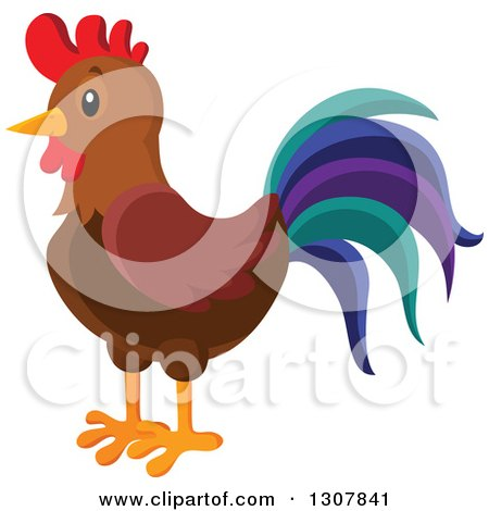 Clipart of a Cute Rooster with a Colorful Tail - Royalty Free Vector Illustration by visekart