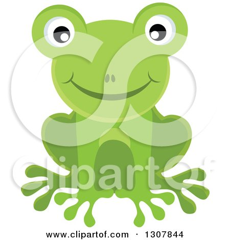 Clipart of a Happy Smiling Green Frog - Royalty Free Vector Illustration by visekart