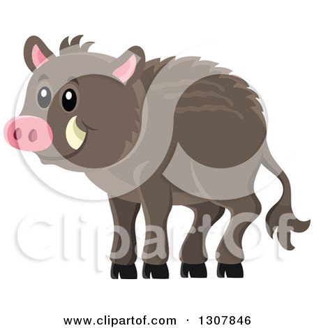 Clipart of a Cute Happy Razorback Boar - Royalty Free Vector Illustration by visekart