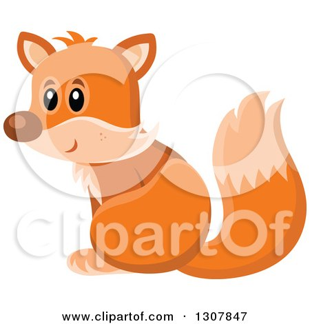 Clipart of a Cute Orange Fox Sitting and Facing Left - Royalty Free Vector Illustration by visekart
