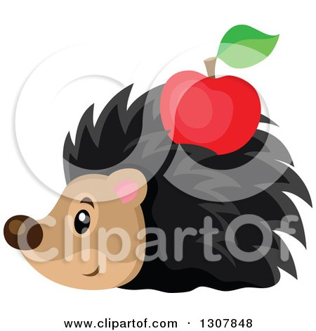 Clipart of a Cute Hedgehog with a Red Apple Stuck on His Back - Royalty Free Vector Illustration by visekart