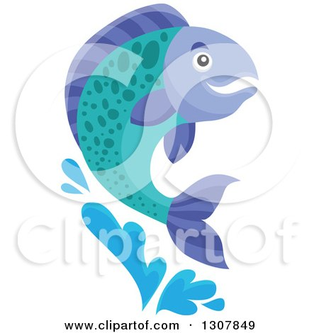 Clipart of a Leaping Salmon Fish - Royalty Free Vector Illustration by visekart