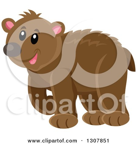 Clipart of a Cute Happy Bear Walking - Royalty Free Vector Illustration by visekart