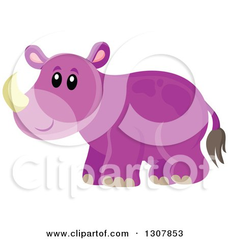 Clipart of a Cute Purple Wild African Rhino - Royalty Free Vector Illustration by visekart