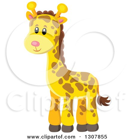 Clipart of a Cute Wild African Giraffe - Royalty Free Vector Illustration by visekart