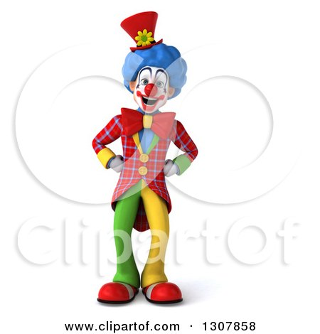 Clipart of a 3d Clown Character with Hands on His Hips - Royalty Free Illustration by Julos