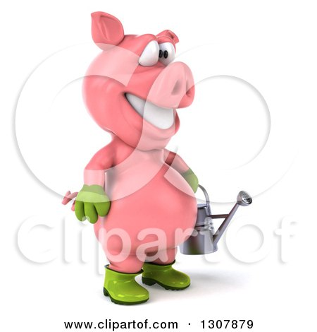 Clipart of a 3d Happy Gardener Pig Facing Right and Holding a Watering Can - Royalty Free Illustration by Julos