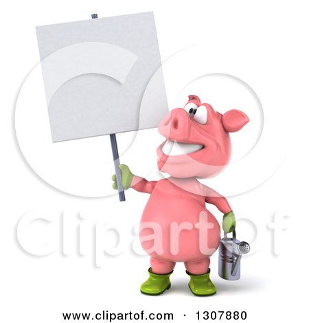 Clipart of a 3d Happy Gardener Pig Holding a Watering Can and a Blank Sign - Royalty Free Illustration by Julos