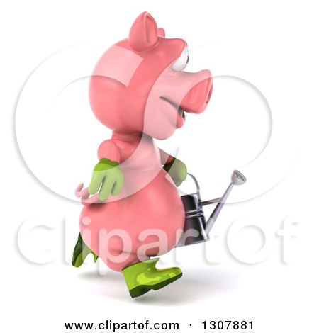 Clipart of a 3d Happy Gardener Pig Running to the Right and Holding a Watering Can - Royalty Free Illustration by Julos