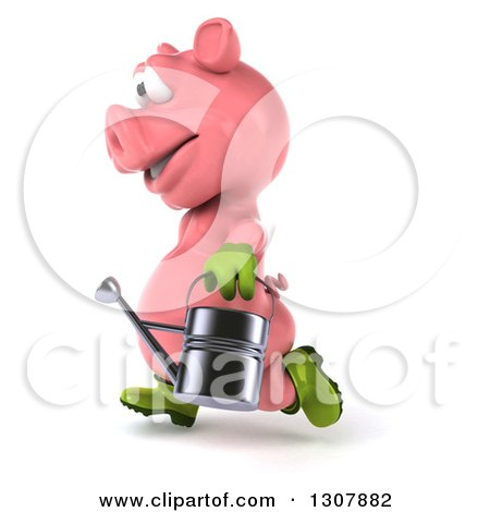 Clipart of a 3d Happy Gardener Pig Running to the Left and Holding a Watering Can - Royalty Free Illustration by Julos