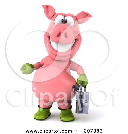 Clipart of a 3d Happy Gardener Pig Presenting and Holding a Watering Can - Royalty Free Illustration by Julos