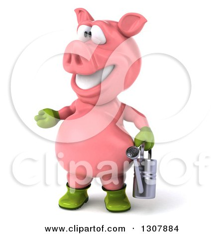 Clipart of a 3d Happy Gardener Pig Presenting to the Left and Holding a Watering Can - Royalty Free Illustration by Julos