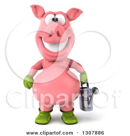 Clipart of a 3d Happy Gardener Pig Holding a Watering Can - Royalty Free Illustration by Julos