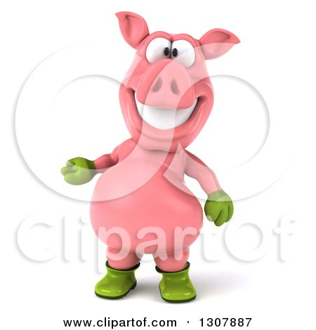 Clipart of a 3d Happy Gardener Pig Presenting - Royalty Free Illustration by Julos