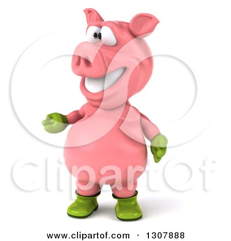 Clipart of a 3d Happy Gardener Pig Presenting to the Left - Royalty Free Illustration by Julos