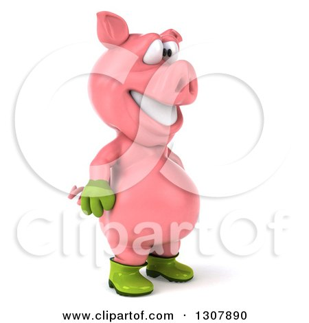 Clipart of a 3d Happy Gardener Pig Facing Right - Royalty Free Illustration by Julos
