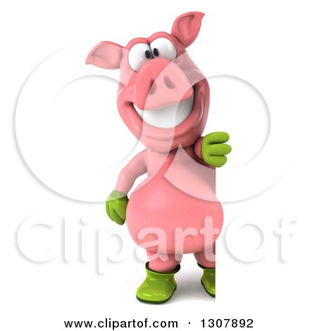 Clipart of a 3d Full Length Happy Gardener Pig Looking Around a Sign - Royalty Free Illustration by Julos