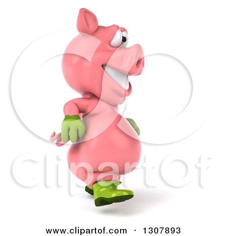 Clipart of a 3d Happy Gardener Pig Walking to the Right - Royalty Free Illustration by Julos