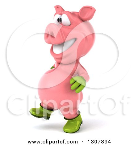 Clipart of a 3d Happy Gardener Pig Walking to the Left - Royalty Free Illustration by Julos