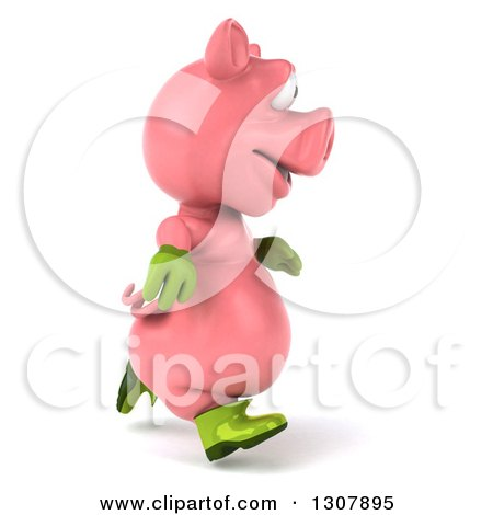 Clipart of a 3d Happy Gardener Pig Running to the Right - Royalty Free Illustration by Julos