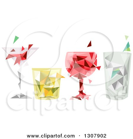 Clipart of a Row of Geometric Alcoholic Beverages - Royalty Free Vector Illustration by BNP Design Studio