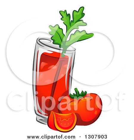 Clipart of a Bloody Mary Drink with Tomatoes and Celery - Royalty Free Vector Illustration by BNP Design Studio