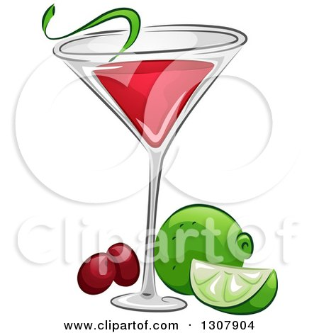 Clipart of a Cosmopolitan Cocktail with Lime and Cranberries - Royalty Free Vector Illustration by BNP Design Studio
