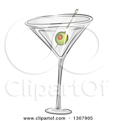 Clipart of a Martini Cocktail with a Green Olive - Royalty Free Vector Illustration by BNP Design Studio