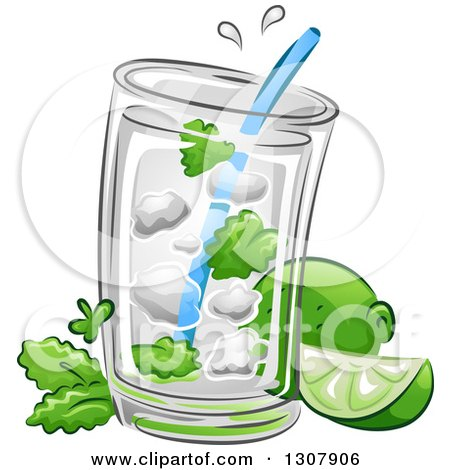 Clipart of a Mojito Cocktail Drink with Limes and Mint - Royalty Free Vector Illustration by BNP Design Studio