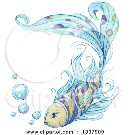 Clipart of a Sketched Fancy Fish with Bubbles - Royalty Free Vector Illustration by BNP Design Studio